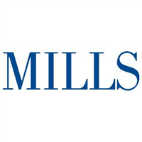 A word 'MILLS' with white backgroud Mills College logo.