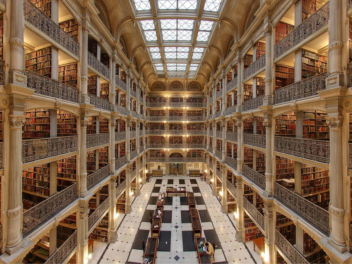 of the most amazing college libraries in the us george peabody library