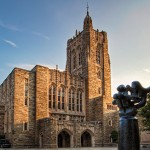 Photograph of the Firestone Library on the Princeton University campus.