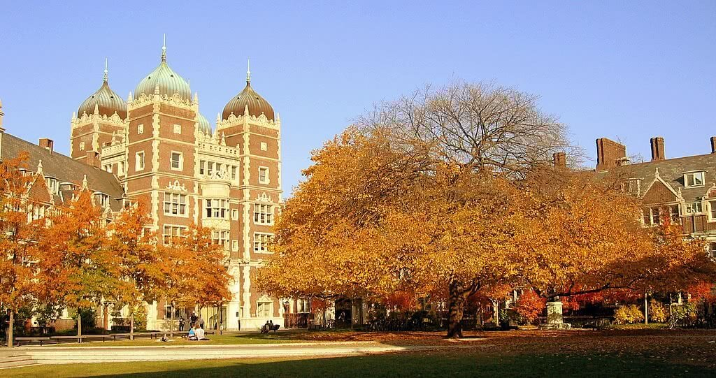 University of Pennsylvania campus with autumn trees in the foreground.