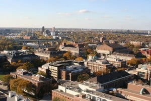 Aerial view of campus buildings at University of Minnesota.
