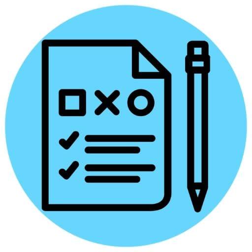 Blue exam icon