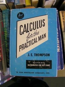 An aged blue book titled Calculus for the Practical Man.