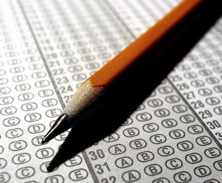 Photograph of a standardized testing form, like the one used while taking the ACT or SAT.