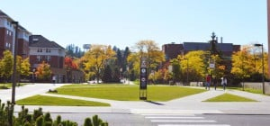 University of Idaho college campus yard.