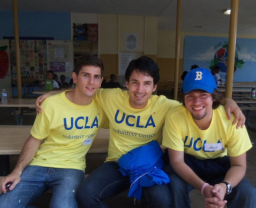 Photograph of college students volunteering.