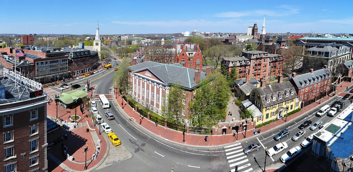 Aerial view of the Harvard University streets and campus buildings.