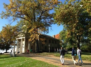 Students walking inside Principia College campus.