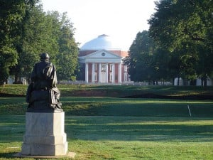 Homer Statue on the University of Virginia campus field.