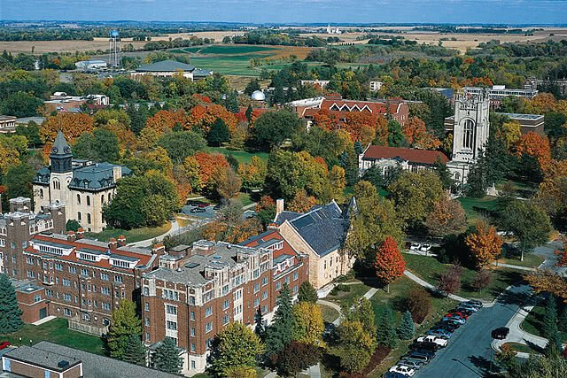Aerial view of Carleton College campus.