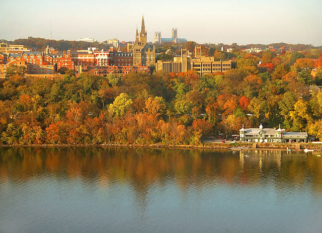 Panorama view of Georgetown University's main campus during the autumn.