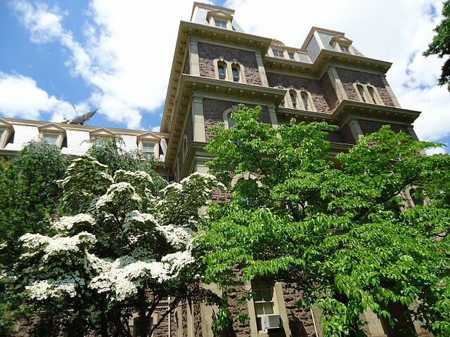 A building at Lafayette College surrounded by trees.