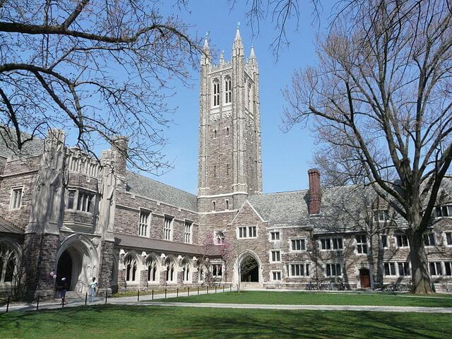 Holder Hall and tower of Rockefeller College of Princeton University.