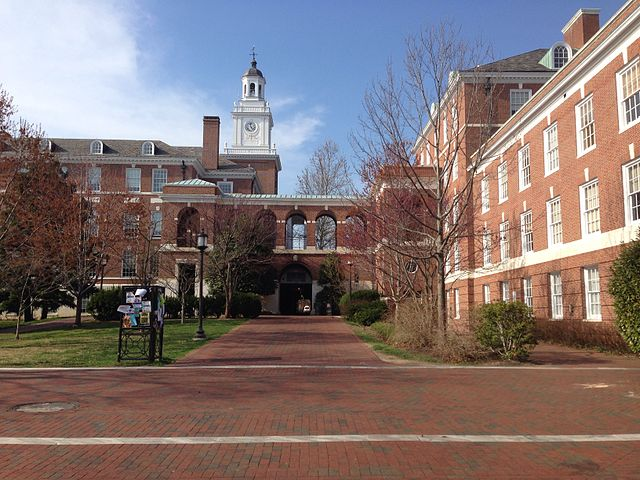 A sunny late fall day at Johns Hopkins University Homewood campus.