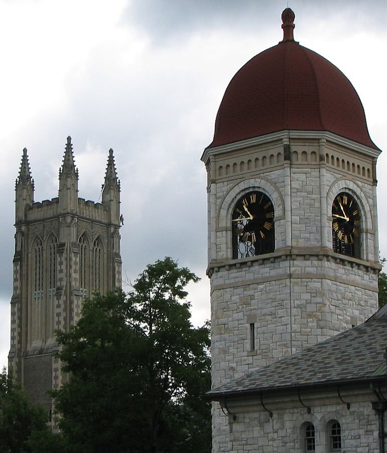 Lasell Bell Tower and Thompson Chapel at Williams College.