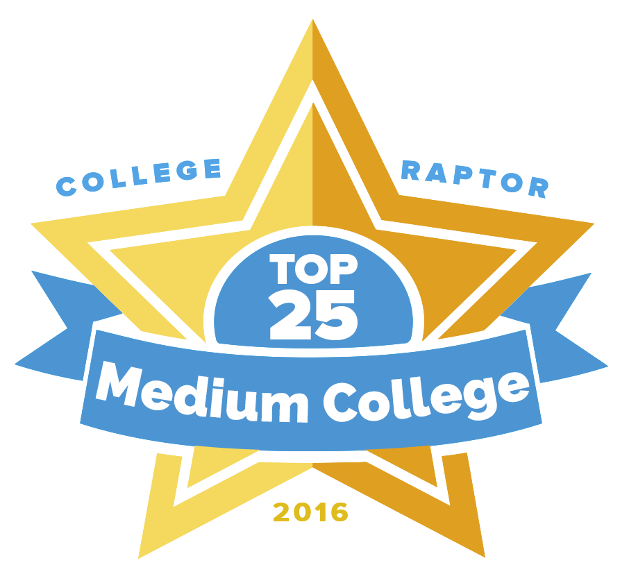 "A gold star badge that says ""College Raptor Top 25 Medium College 2016."""