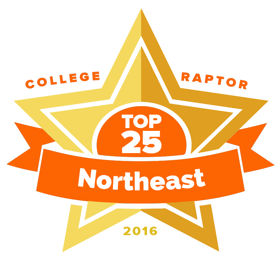"A gold star badge that says ""College Raptor Top 25 Northeast 2016."""