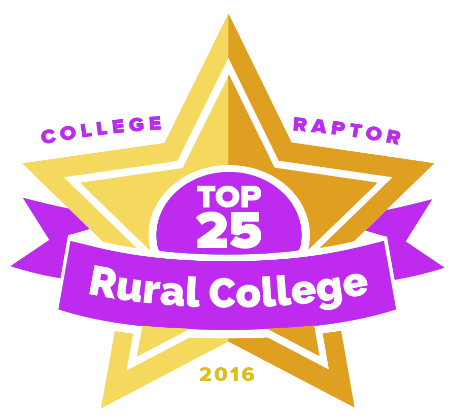 "College Raptor Rankings star badge that says ""Top 25 Rural College 2016""."