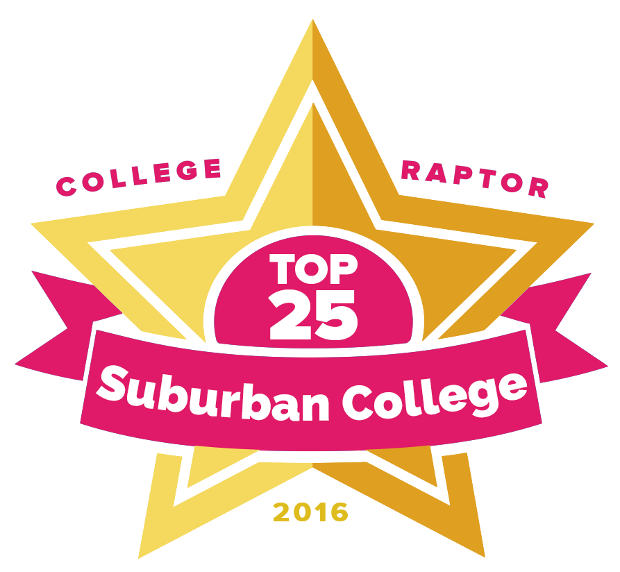 "College Raptor Rankings star badge that says ""Top 25 Suburban Colleges 2016""."