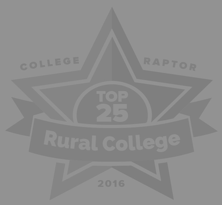 "College Raptor Rankings grey star badge that says ""Top 25 Rural College 2016""."