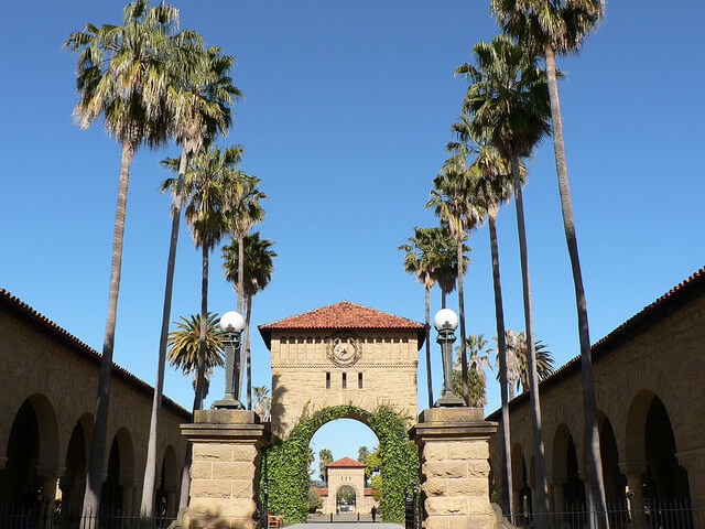 Stanford University main quad side architecture.
