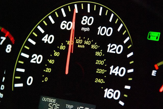 Photograph of a car's speedometer.