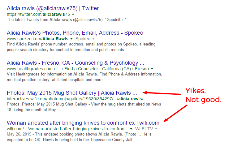 Take inventory of the bad things that turn up in your personal SEO.