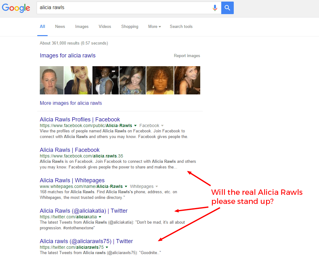 Search results for people named Alicia Rawls for a personal SEO.