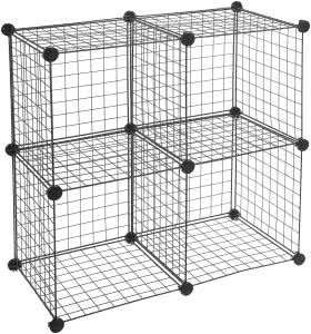 AmazonBasics grid wire storage shelves. Click to view its Amazon page.