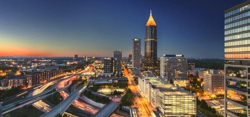Downtown Atlanta City at night.