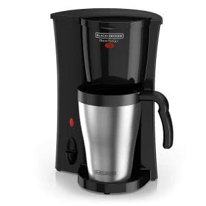 Black and Decker coffeemaker with silver travel mug. Click to view its Amazon page.