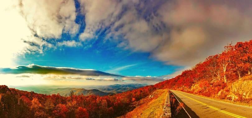 The Blue Ridge Mountain range during autumn.