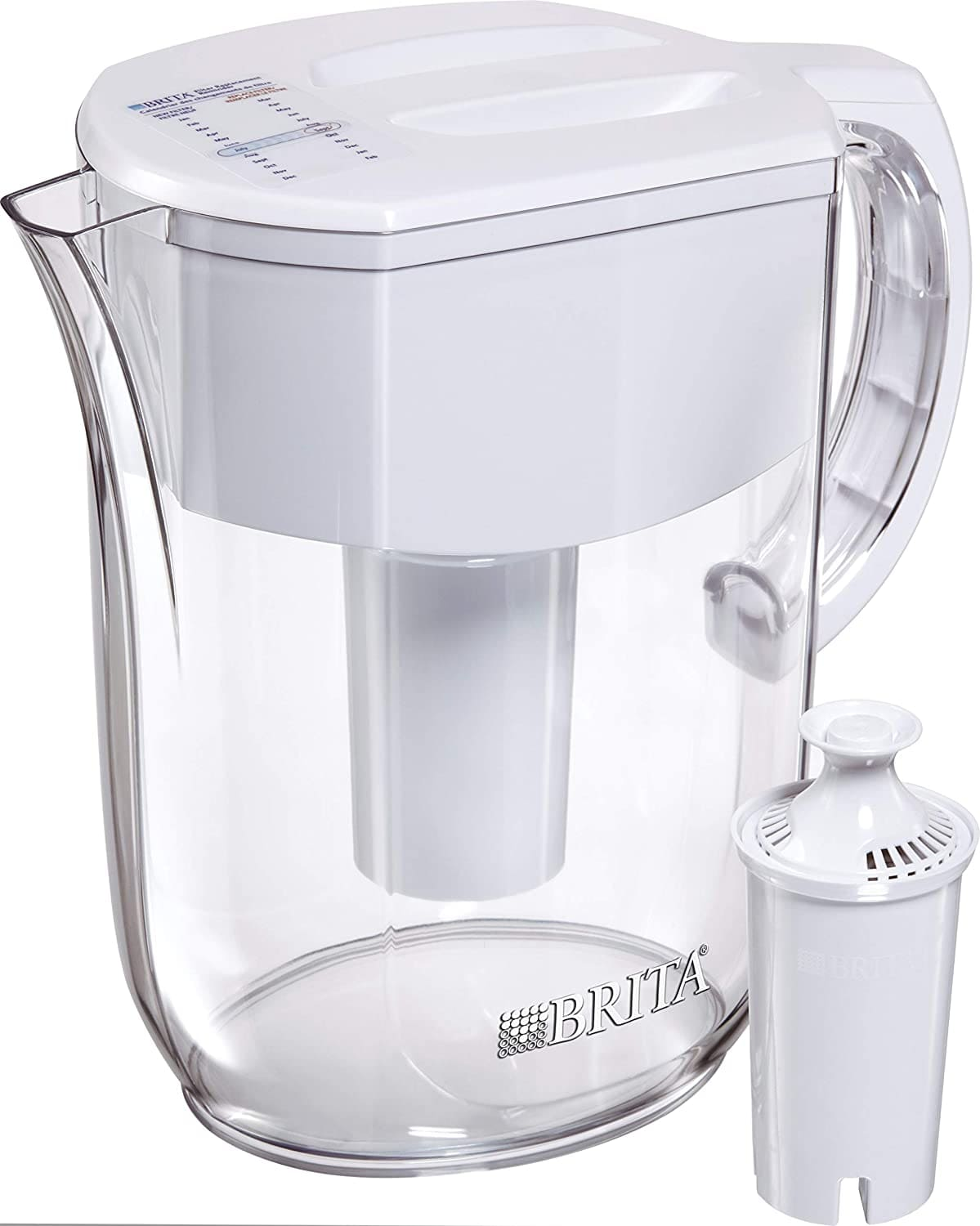 A clear water pitcher with a filter next to it.