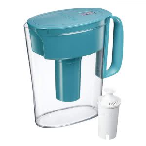 Blue and white Brita small water filter pitcher. Click to view its Amazon page.