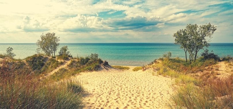 A picture of the Indiana dunes bordering a body of water.