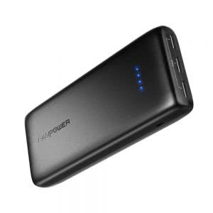 Black RAVPower portable external battery pack. Click to view its Amazon page.