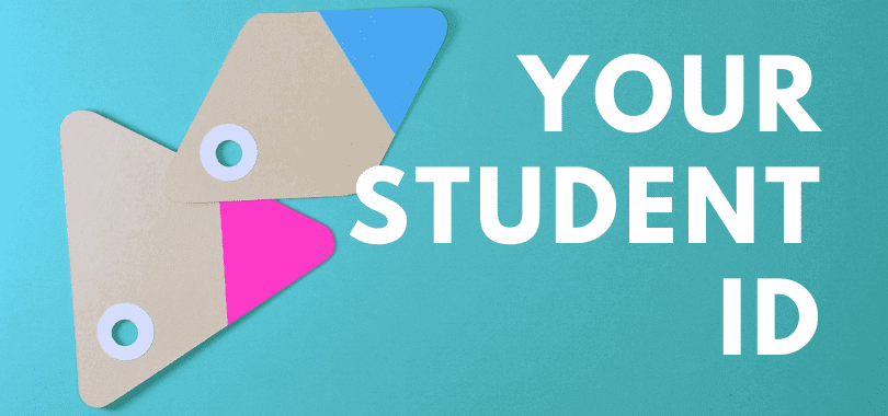 "A blue background with beige tabs, with text that says ""your student ID."""