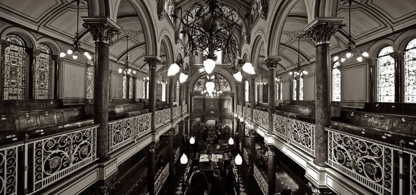 The inside of a synagogue.