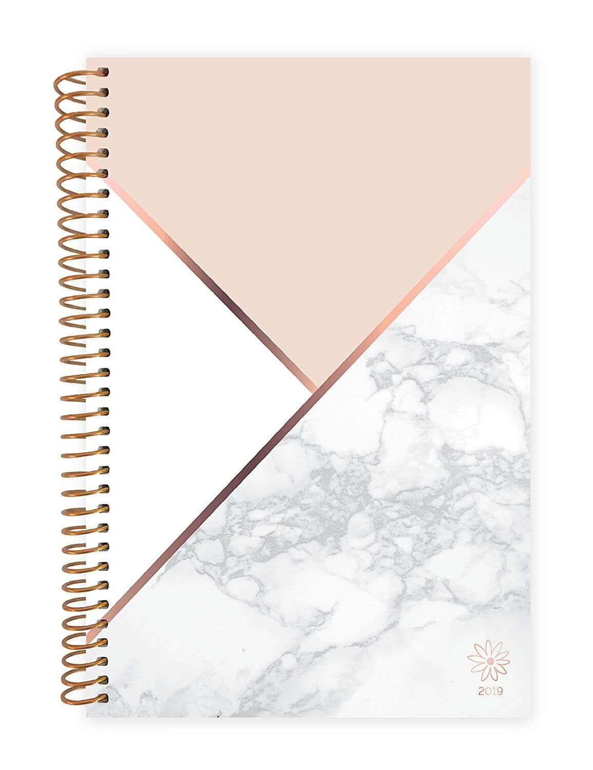 A Bloom academic daily planner with marble design. Click to view its Amazon page.