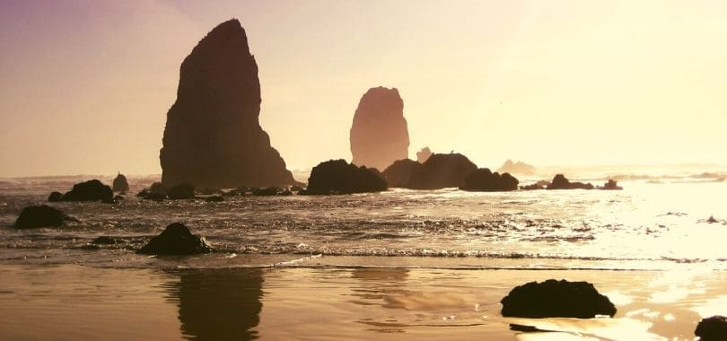Cannon Beach in Oregon at sunset.