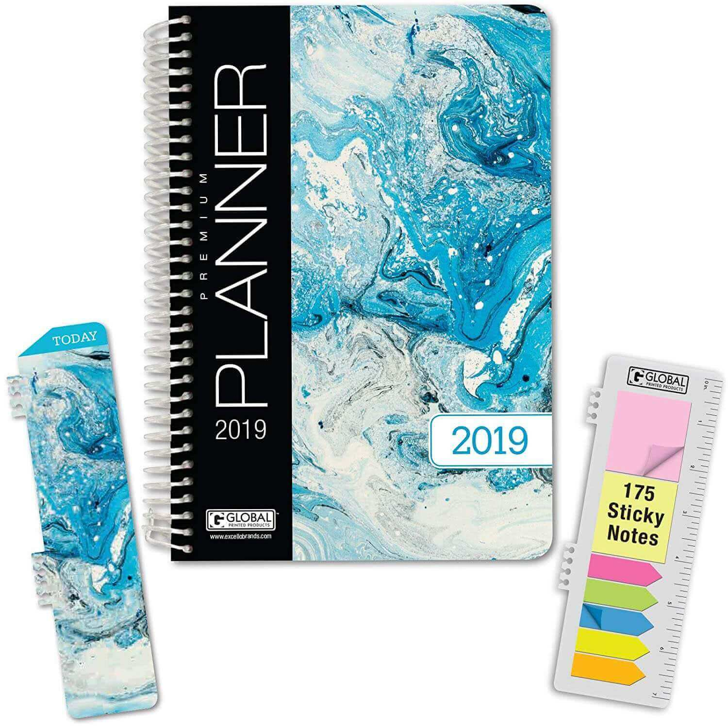 A Global Printed Products hardcover 2019 academic planner with sticky notes and bookmark. Click to view its Amazon page.