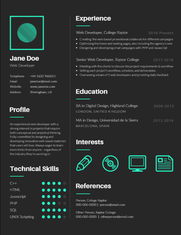 Here's an example of a creative resume
