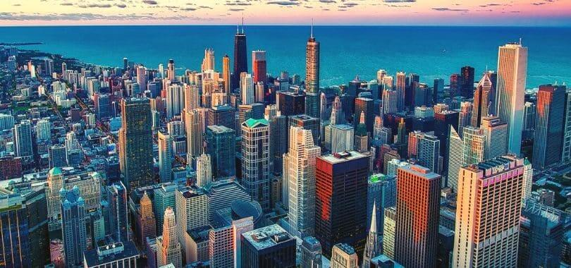 Chicago skyscrapers against the water.