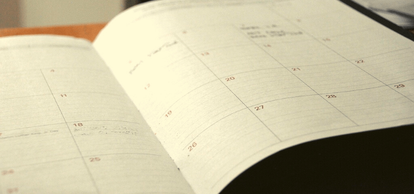 A schedule open to a monthly page.