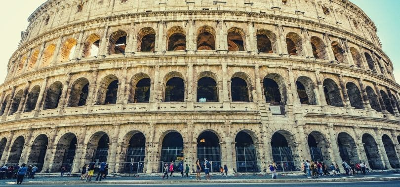 A close-up shot of the Roman Colosseum.