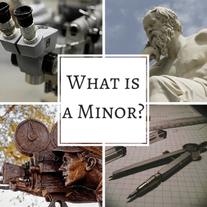"Collaged of microscope, film statue, compass, and philosopher, with text overlay: ""What is a minor?"""