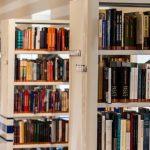 A row of beige bookshelves.