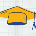 A gold and blue drawing of a graduation cap.