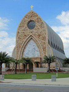 Arched Catholic Oratory building of Ave Maria University.