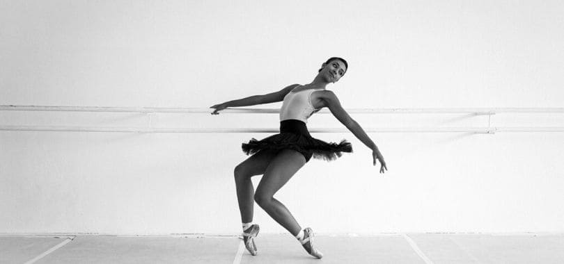 A black and white picture of a ballerina.